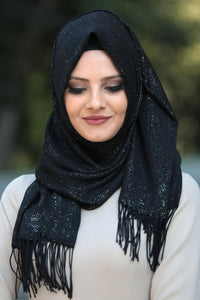 Black Patterned Sparkly Shawl - Buy Abaya Online