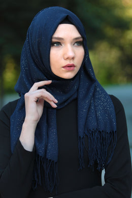 Navy Blue Patterned Sparkly Shawl - Buy Abaya Online