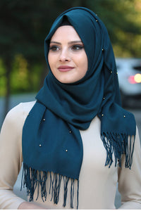 Blue Beaded Tassels Shawl - Buy Abaya Online