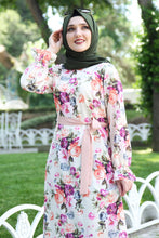 Load image into Gallery viewer, Pink Floral Pattern White Dress With Waist Bow - Buy Abaya Online
