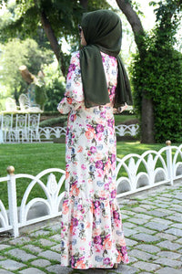 Pink Floral Pattern White Dress With Waist Bow - Buy Abaya Online