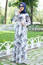 Load image into Gallery viewer, Blue Floral Patterned White Dress With Waist Bow - Buy Abaya Online