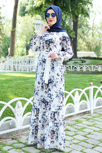Blue Floral Patterned White Dress With Waist Bow - Buy Abaya Online