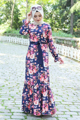 Pink Floral Pattern Navy Blue Dress With Waist Bow - Buy Abaya Online