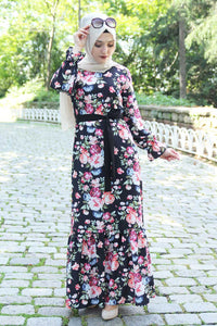 Pink Floral Pattern Black Dress With Waist Bow - Buy Abaya Online