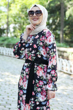 Load image into Gallery viewer, Pink Floral Pattern Black Dress With Waist Bow - Buy Abaya Online