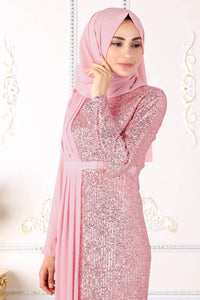 Sequin Detailed Powder Pink Evening Dress - Buy Abaya Online