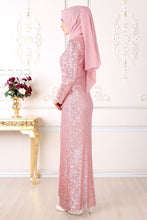 Load image into Gallery viewer, Sequin Detailed Powder Pink Evening Dress - Buy Abaya Online