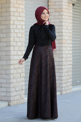 Black & Claret Red Dress - Buy Abaya Online