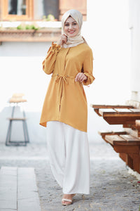 Mustard Tunic and White Trousers Set - Buy Abaya Online