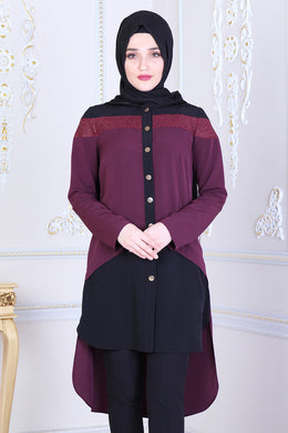Plum & Black Tunic With Long Back - Buy Abaya Online