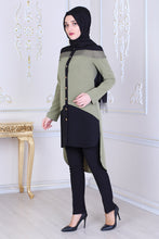 Load image into Gallery viewer, Green & Black Tunic With Long Back - Buy Abaya Online