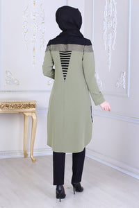 Green & Black Tunic With Long Back - Buy Abaya Online