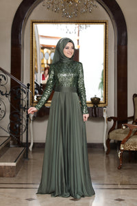Beylem Olive Green Evening Dress With Matching Scarf - Buy Abaya Online