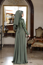 Load image into Gallery viewer, Beylem Olive Green Evening Dress With Matching Scarf - Buy Abaya Online