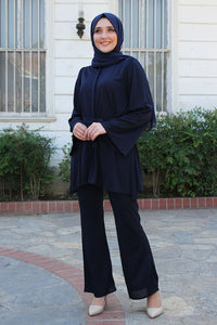 Black Modest Tunic And Trouser Set With Belt - Buy Abaya Online