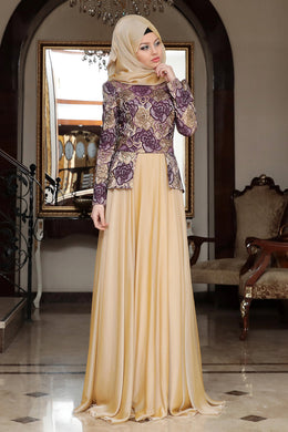 Purple & Gold Roses Evening Dress - Buy Abaya Online