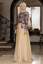 Load image into Gallery viewer, Purple & Gold Roses Evening Dress - Buy Abaya Online
