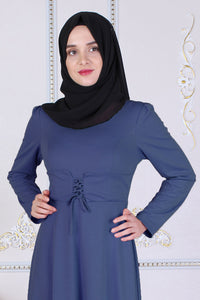 Blue Modest Dress With Waist Tie Belt - Buy Abaya Online