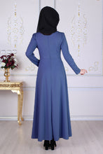 Load image into Gallery viewer, Blue Modest Dress With Waist Tie Belt - Buy Abaya Online