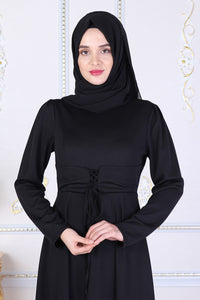 Black Modest Dress With Waist Tie Belt - Buy Abaya Online