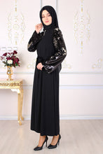 Load image into Gallery viewer, Gold Sequin Detailed Black Abaya - Buy Abaya Online