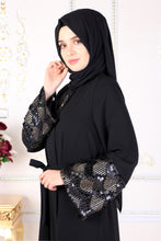 Load image into Gallery viewer, Black Kimono Abaya With Sequin Detail - Buy Abaya Online