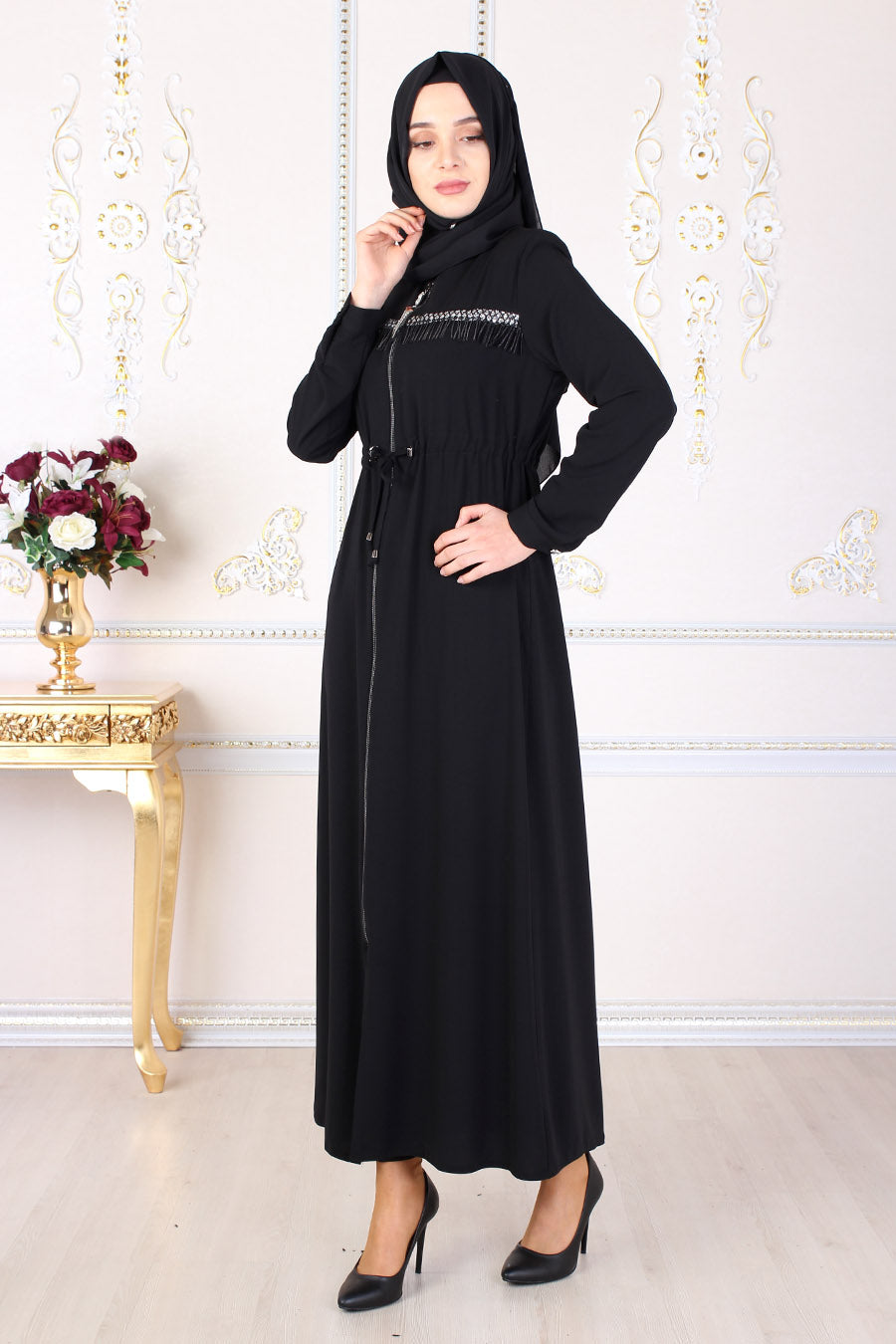 Black Shirred Abaya - Buy Abaya Online