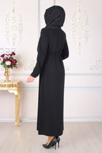 Load image into Gallery viewer, Black Shirred Abaya - Buy Abaya Online