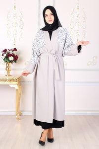 Grey Kimono Abaya Leaf Sequin Detail - Buy Abaya Online