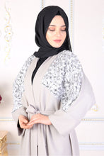 Load image into Gallery viewer, Grey Kimono Abaya Leaf Sequin Detail - Buy Abaya Online