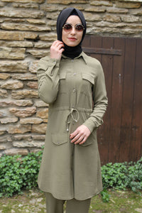 Khaki Modest Tunic And Trouser Set - Buy Abaya Online