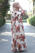 Load image into Gallery viewer, Floral Patterned Beige Dress - Buy Abaya Online