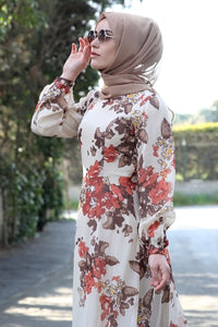 Floral Patterned Beige Dress - Buy Abaya Online