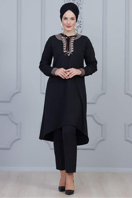 Black Modest Tunic With Collar Embroidery - Buy Abaya Online