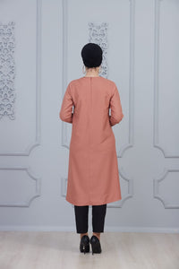 Coral Colour Modest Tunic With Collar Embroidery - Buy Abaya Online