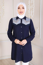 Load image into Gallery viewer, Navy Blue Modest Tunic With Patterned Shoulders - Buy Abaya Online