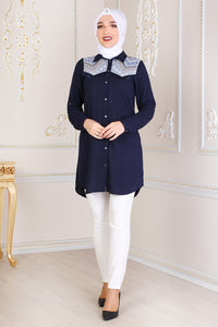 Navy Blue Modest Tunic With Patterned Shoulders - Buy Abaya Online
