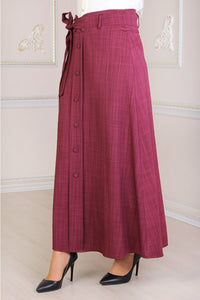 Plum Colour Buttoned Skirt - Buy Abaya Online