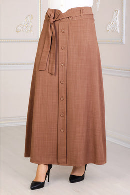 Tan Colour Buttoned Skirt - Buy Abaya Online