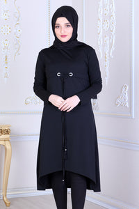 Black Tunic With Drawstring - Buy Abaya Online