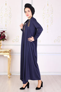 Navy Blue Modest Dress W/ Leopard Print Straps - Buy Abaya Online