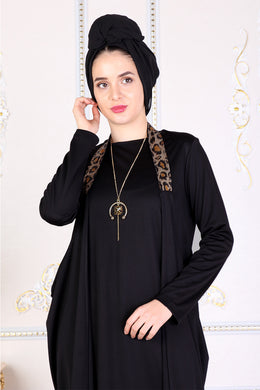 Black Modest Dress W/ Leopard Print Straps - Buy Abaya Online