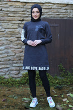 Load image into Gallery viewer, Dark Grey Love Sweater - Buy Abaya Online