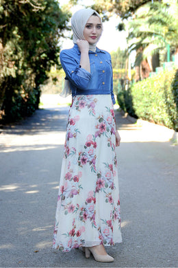Flower Patterned Denim Dress - Buy Abaya Online