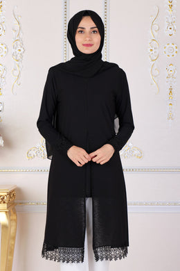 Black Lace Detailed Modest Tunic - Buy Abaya Online