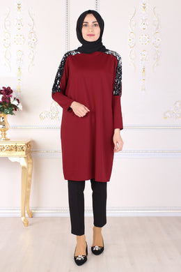 Sequin Detailed Claret Red Tunic - Buy Abaya Online