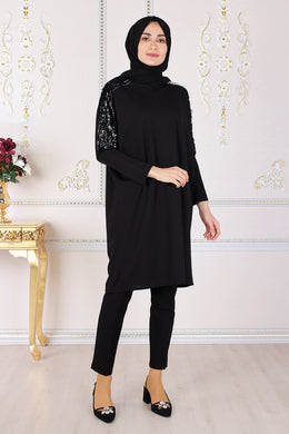 Sequin Detailed Black Tunic - Buy Abaya Online