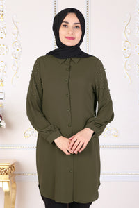 Khaki Tunic With Pearls - Buy Abaya Online
