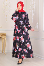 Load image into Gallery viewer, Black With Floral Pattern Dress - Buy Abaya Online